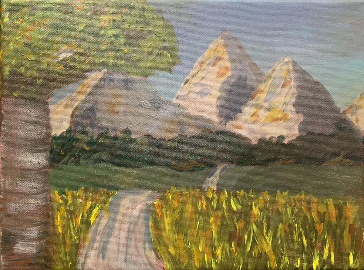 Painting of bright pathway sloping down a deep valley before reaching the forest and sun-kissed mountains